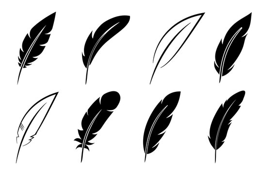 Set feather icon sign – vector