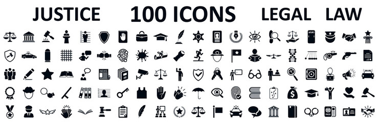 Fototapeta Legal, law and justice 100 icons set - stock vector