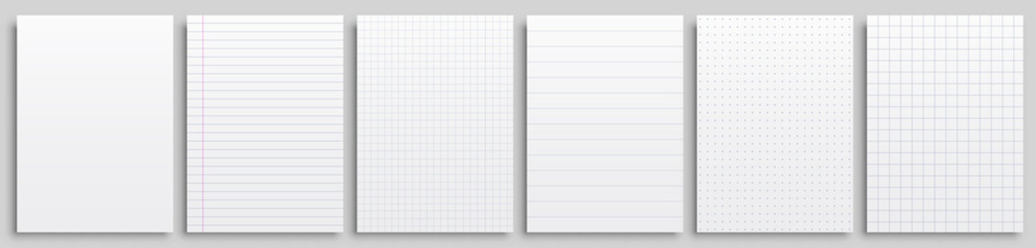 Set realistic clean papers blank page notepad with lines isolated, dots and cells, six notepad blank mockup template copybook cover, realistic blank sheets - stock vector