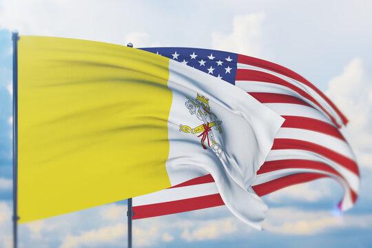 Waving American flag and flag of Vatican City. Closeup view, 3D illustration.