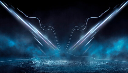 Fotomurales - Abstract dark futuristic blue night background. Rays and lines, lightning, lights. Blue neon light, symmetrical reflection in water, futuristic landscape, stage. 3D illustration.