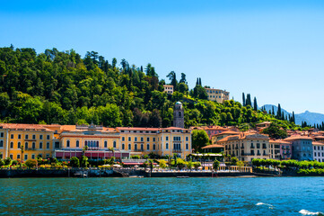 Called the Pearl of Lake this is the lovely Town of Bellagio on Lake Como in Lombardy, Northern Italy, Europe