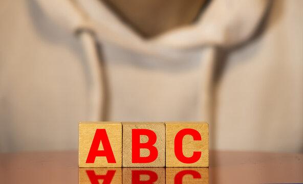 ABC words on wooden blocks