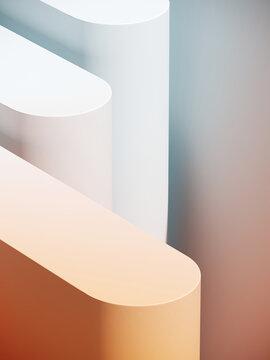 Minimal abstract mockup background for product presentation. White and orange blending gradient podium. 3d render illustration.