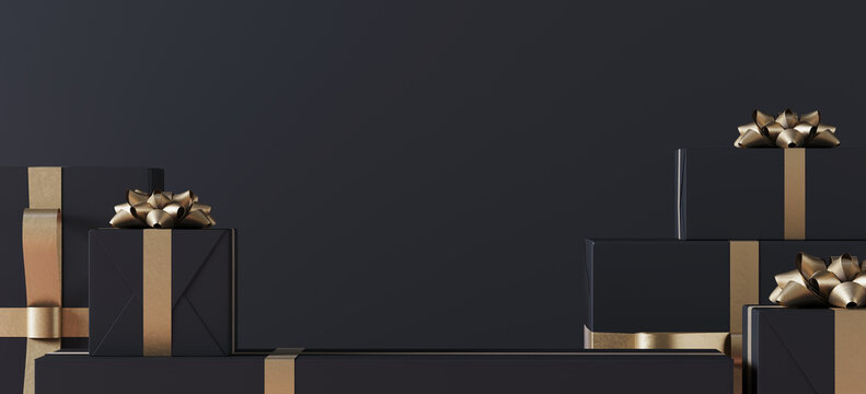 Minimal product background for Christmas, New year and sale event concept. Black gift box with golden ribbon bow on black background. 3d render illustration. Clipping path of each element included.