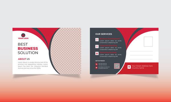 Creative red corporate business postcard design template