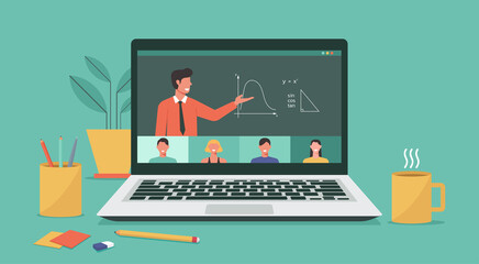 people connecting together, learning or meeting online with teleconference, video conference remote working on laptop, work from home and anywhere, new normal concept, vector flat illustration