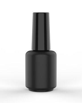 Blank nail polish bottle for mockup design and branding presentation, 3d render illustration.