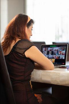 intellectual woman on virtual work