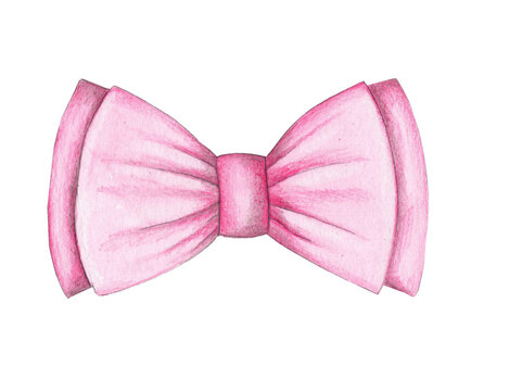 Watercolor illustration of pink bow, element of clothes. Hand drawn, isolated.