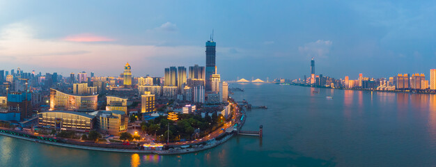 Fototapeta Wuhan city sunset and night aerial photography scenery in summer