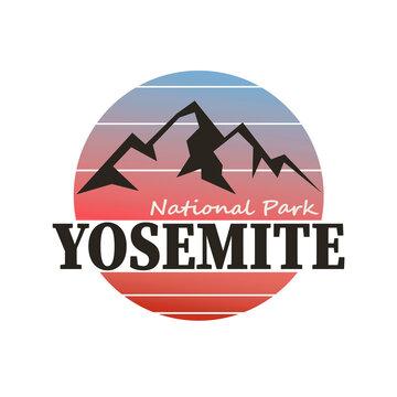 YOSEMITE PARK, MOUNTAIN SLOGAN PRINT VECTOR LOGO DESIGN