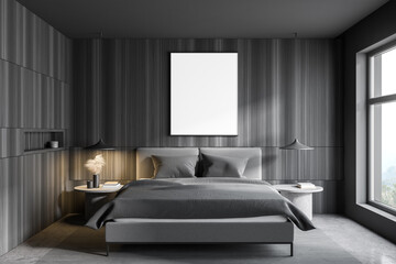 Photo sur Plexiglas Pain Gray and wooden bedroom interior with poster