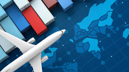 Fototapeta Container cargo ship and airplane in import export on digital world map, 3d rendering