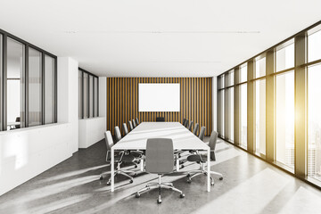 Printed roller blinds Countryside White and wooden meeting room with poster