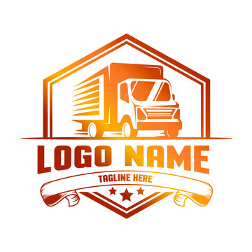 classic luxury delivery truck logo template