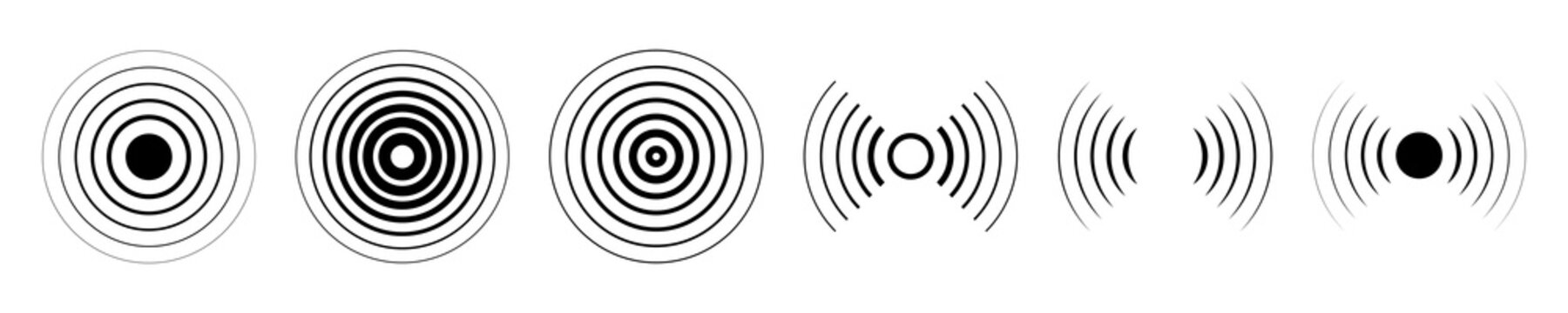 Set of different radar icons. Signal icon vector. Sound waves. Vector illustration eps10.