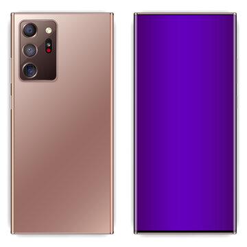 smartphone realistic design with three camera. samsung note 20