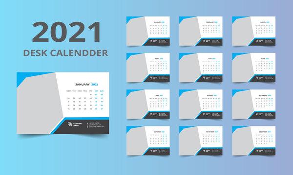 Desk calendar design 2021 template Set of 12 Months, Week starts Monday, Stationery design, calendar planner
