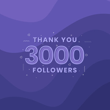 Thank you 3000 followers, Greeting card template for social networks.