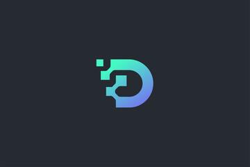 Fototapeta Technology Letter D Logo Template obraz