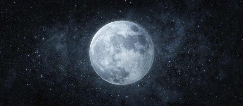 Panoramic view of the moon out in the space