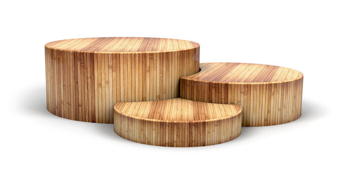 Wooden podium in cylinder shape for winner and product display. 3d illustration.