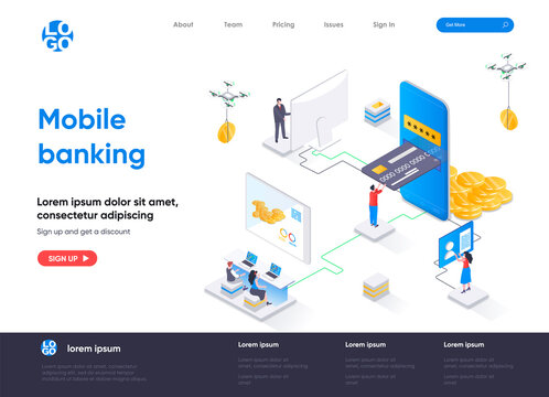 Mobile banking isometric landing page. Smart finance app, money transactions and payments isometry concept. Digital wallet mobile application flat web page. Vector illustration with people characters.