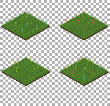 Set of isometric grass tiles with flowers