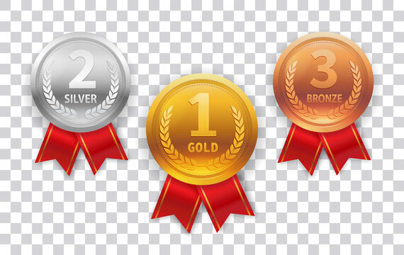 Champion Medal set. Gold, Silver and Bronze Medal with Red Ribbon Icon Sign First, Second and Third Place Isolated on Transparent Background. Vector