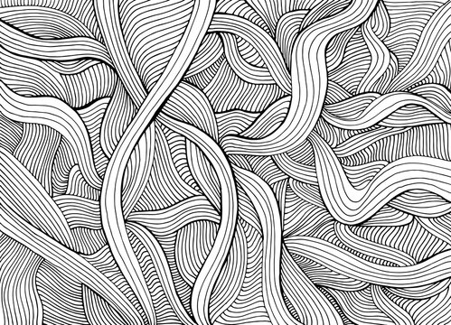 Abstract funny doodle style with many intricate waves coloring page.