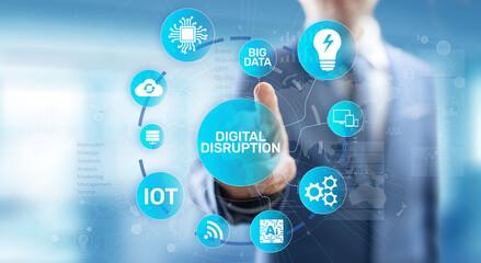 Digital Disruption. Disruptive business ideas. IOT, network, smart city, big data, cloud, analytics, web-scale IT, AI. Papier Peint
