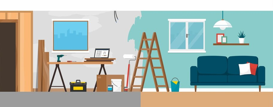 Home renovation process before and after