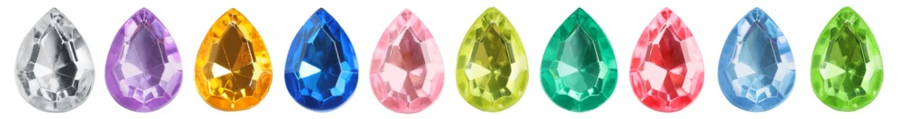 Set of bright gemstones isolated on white. Banner design
