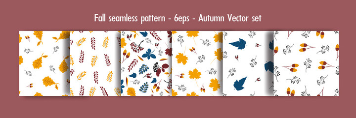 Fall seamless pattern set, autumn  vector set. Collection  of hand drawn autumn elements for design