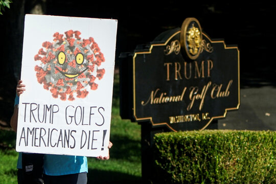 Protesters critical of U.S. President Trump's handling of the coronavirus disease (COVID-19) outbreak hold up signs in Sterling, Virginia