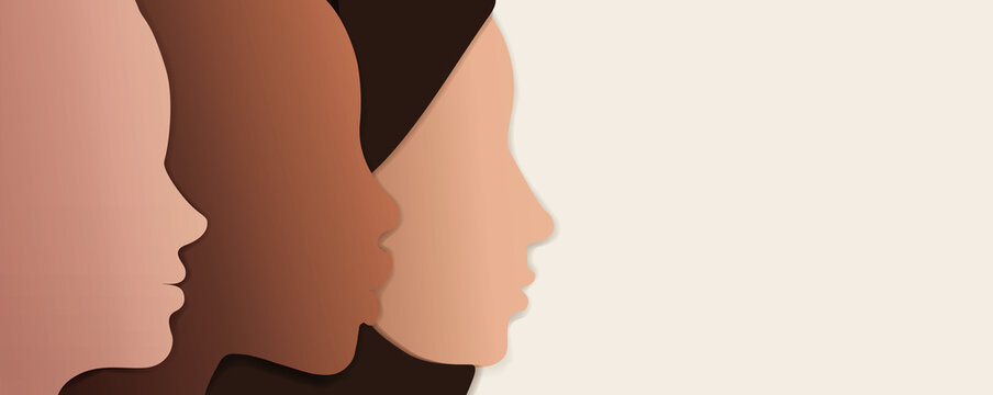 Silhouette group of multiethnic women who talk and share ideas and information. Women social network community. Communication and friendship women or girls of diverse cultures. Speak