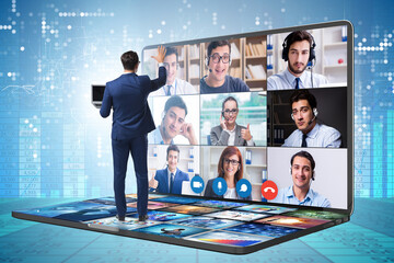 Fototapeta Concept of remote video conferencing during pandemic obraz