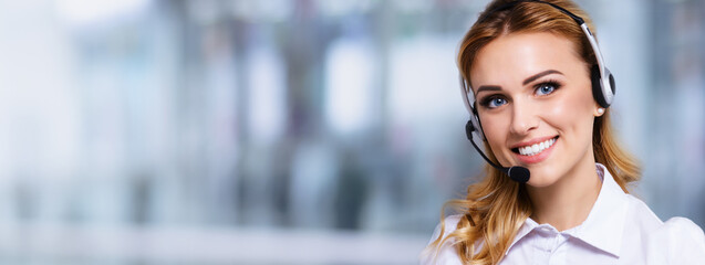 Call Center Service. Portrait of customer support or sales agent. Caller or receptionist phone...