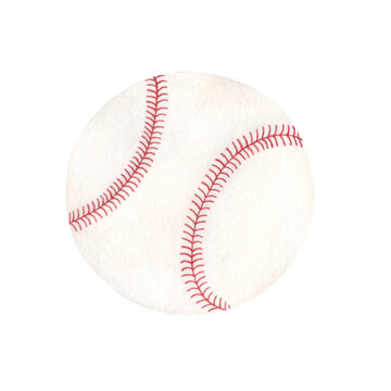 Watercolor illustration of baseball white leather ball with red lace. Sport ball isolated on white background.