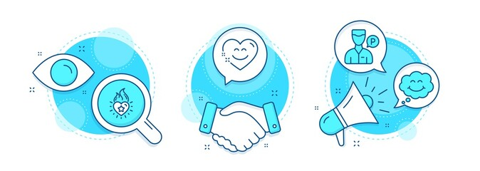 Heart flame, Smile and Smile chat line icons set. Handshake deal, research and promotion complex icons. Valet servant sign. Love fire, Comic chat, Heart face. Parking man. People set. Vector