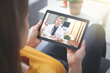 Doctor video chat consultation. Telehealth concept