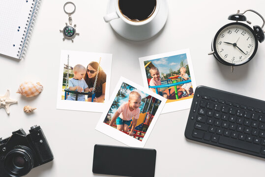 Printed photographs, photo lab concept, top view