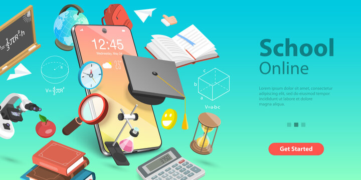 3D Isometric Flat Vector Conceptual Illustration of Online Education Concept, Distance Courses and E-learning, Back to Digital School.