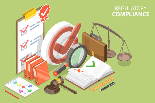 3D Isometric Flat Vector Conceptual Illustration of Regulatory Compliance, Policies and Regulations.