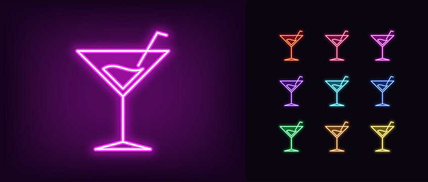 Neon cocktail drink icon. Glowing neon martini sign, cocktail party