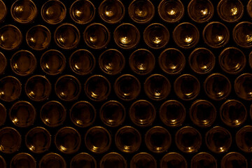 Area of stacked wine bottles in wine cellar, South Moravia Czech Republic