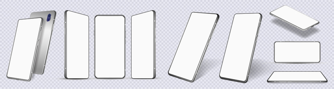 Mockup mobile phones at different angles. Smartphones isolated on white background with blank screen display. Template cellphone for show UI, UX, APP. Presentation smartphones mockup. Vector set