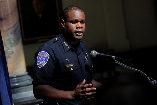 Rochester Police Chief, La'Ron Singletary speaks during a news conference in Rochester, New York