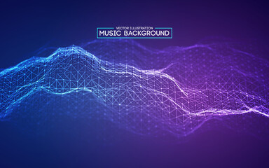 Blue background design. Colourful music background design. Abstract sound wave music equalizer. Particle background audio abstract. EPS 10.